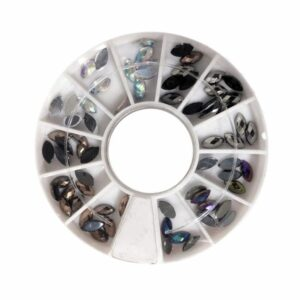 Nail Art Stein/Chrom, verschiedene Größen im Rad