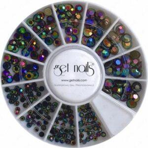Chrome Crystals verschiedene Farben und Größen, im Rad